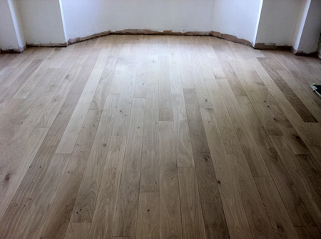 Oak Strip Flooring Sanded and Sealed in North Wales