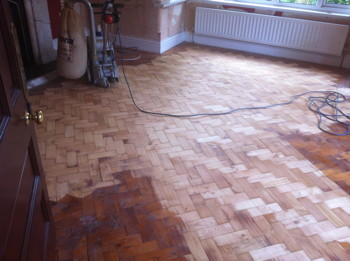 Pine Parquet Block Flooing Sanded before Bona Traffic HD applied