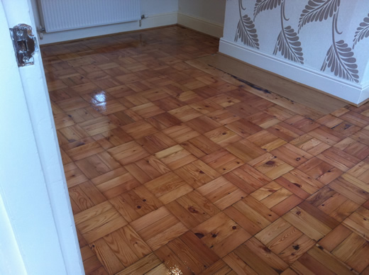 Pine Parquet Wood Block Flooring Renovated