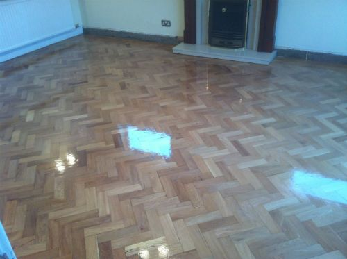 Rustic Oak Parquet Block Flooring Renovated in Wrexham and Refinished with Bona Resident Plus Silkmatt Finish