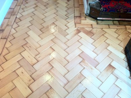 Columbian Pine Parquet Flooring Restored by Woodfloor-Renovations