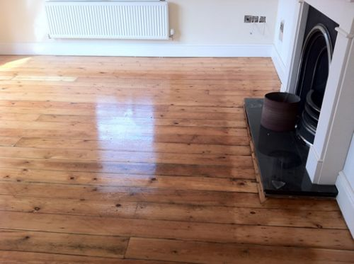 Yellow Pine Floorboards completely Restored in Cheshire by Woodfloor-Renovations