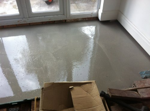 Floor Sanding and Restoration in Cheshire - The self levelling begins !
