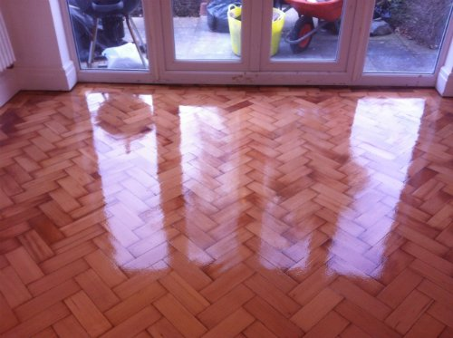 Douglas Fir Parquet Flooring Renovated in Cheshire