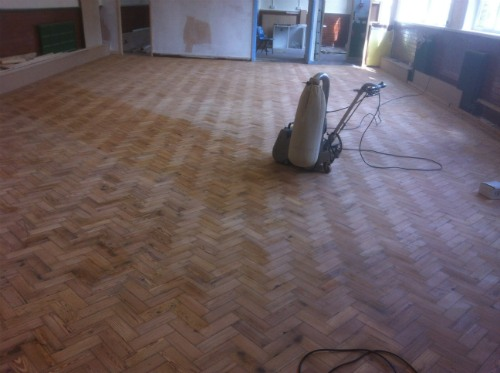 Parquet Wood Block Floor Sanding at the Stalybridge Church Hall in Cheshire