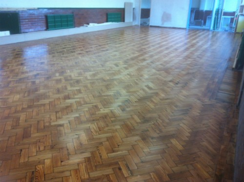 Stalybridge Church Hall Original Parquet Floor Sanded and Sealed in Cheshire