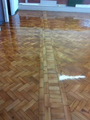 Floor Sanding at Stalybridge Church Hall, Pitch Pine Parquet Wood Block Flooring Cheshire