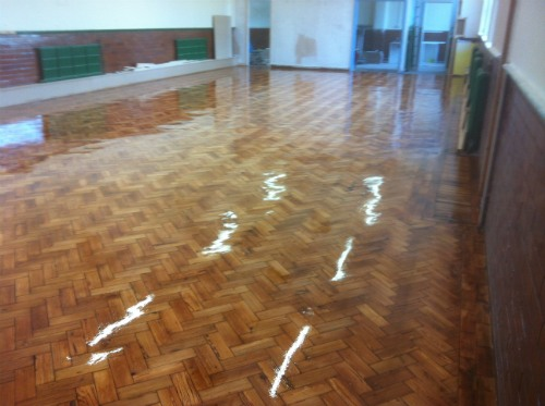 Original Pitch Pine Parquet Flooring Restoration at Stalybridge Church Hall in Cheshire