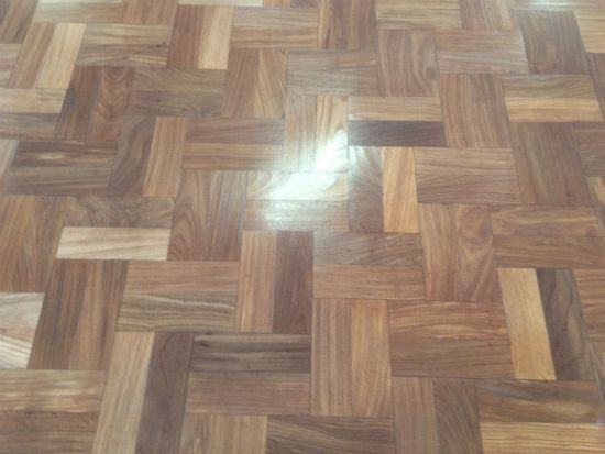 Close up of the finished parquet wood block floor