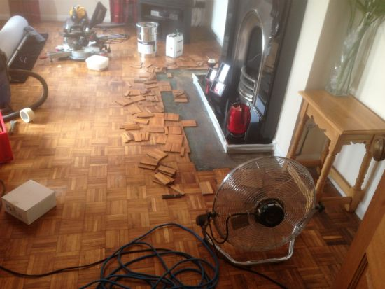 Oak Mosaic Parquet Repaired and Restored in Wrexham