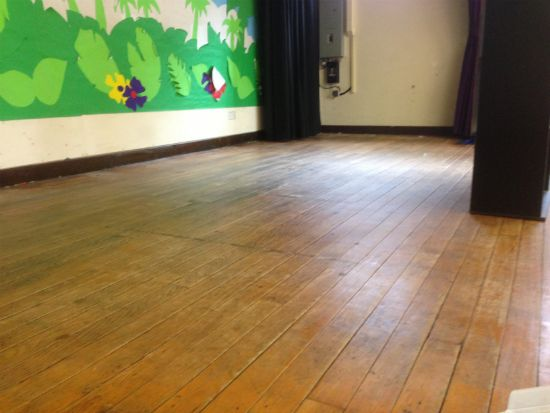 Rhosddu Primary School Stage Maple Strip Flooring
