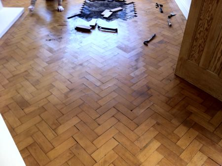 Douglas Fir Parquet Floor Repair and Restoration in Mold North Wales