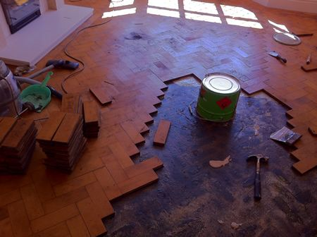 Columbian Pine Parquet Floor Repair and Restoration in Mold North Wales