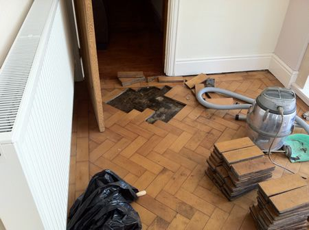 Columbian Pine Parquet Block Floor Repairs and Restoration in Mold North Wales