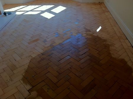 Columbian Pine Parquet Wood Floor Sanding and Restoration in Mold North Wales