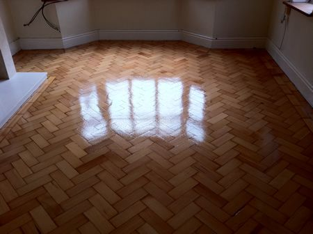 Columbian Pine Parquet Wood Floor Renovation in Mold North Wales