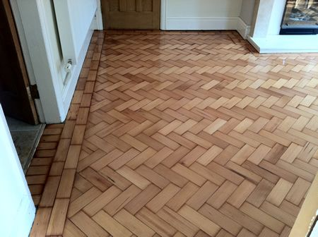 Douglas Fir Parquet Wood Floor Renovation in Mold North Wales