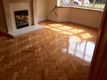 Columbian Pine Parquet Flooring Restoration in Mold North Wales