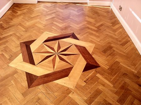Rustic Oak Parquet Wood Block Flooring With Marquetry insert Sanded and Sealed in Cheshire