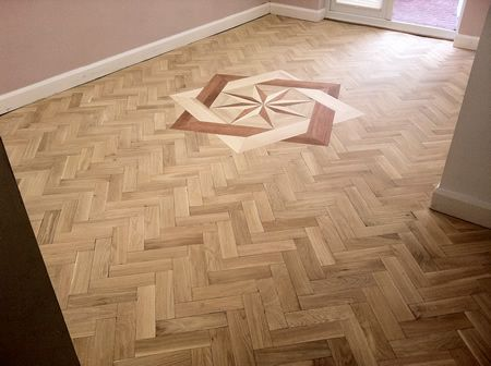 Oak Parquet Floor with Marquetry Sanded and Sealed by Woodfloor-Renovations