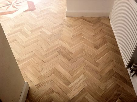 Rustic Oak Parquet Block Floor With Marquetry insert Renovated in Cheshire