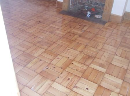 Basket weave Pine Wooden Block Parquet Flooring