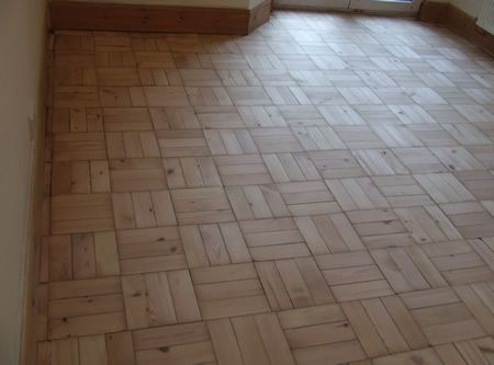 Basketweave Pattern Pine Parquet Floor