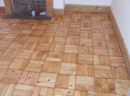 Basketweave Pattern Pine Wood Block Flooring