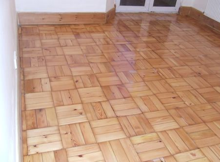 Basket Weave Pattern Pine Parquet Wood Block Flooring Restored in Hoole by Woodfloor-Renovations