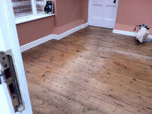 Sanding and Sealing Reclaimed Pitch Pine Floorboards in Chester, Cheshire