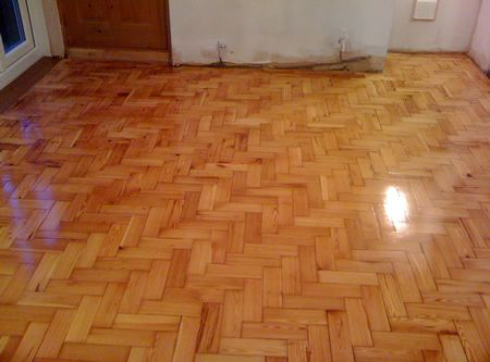 Pitch Pine Parquet Floor Renovated in Caernarfon by Woodfloor-Renovations