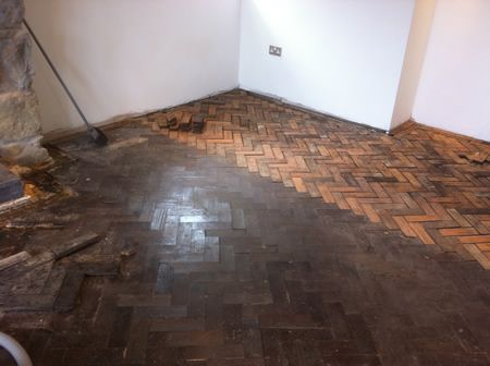 Pitch Pine Parquet Flooring Restoration in North Wales