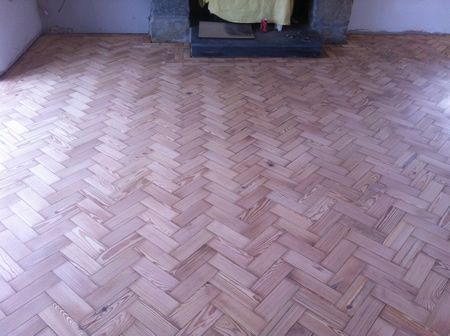 Pitch Pine Parquet Wood Block Flooring Restored in North Wales