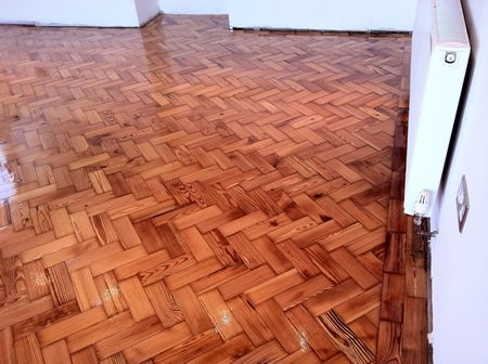 Pitch Pine Block Parquet Flooring Restoration in North Wales by Woodfloor-Renovations