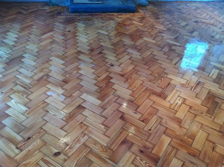 Pitch Pine Parquet Wood Block Floor Renovation in North Wales