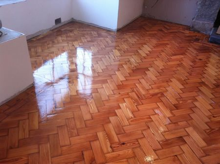 Pitch Pine Parquet Block Flooring Restored in North Wales by Woodfloor-Renovations