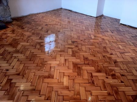 Pitch Pine Parquet Block Floor Restoration in Conwy North Wales