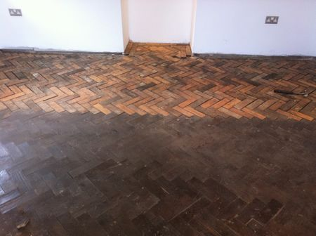 Pitch Pine Parquet Floor Restoration in North Wales