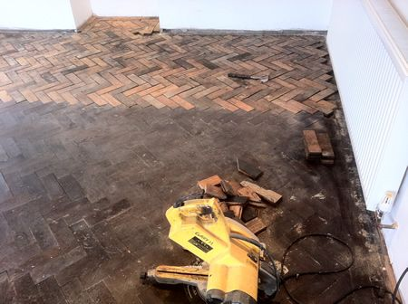 Pitch Pine Parquet Block Flooring Restoration in North Wales