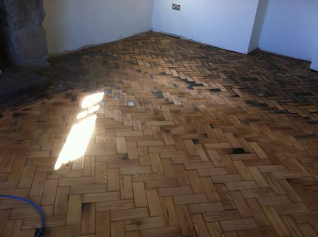 Pitch Pine Parquet Wood Flooring Restoration in North Wales