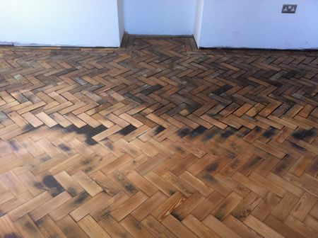 Pitch Pine Parquet Block Floor Renovation in North Wales