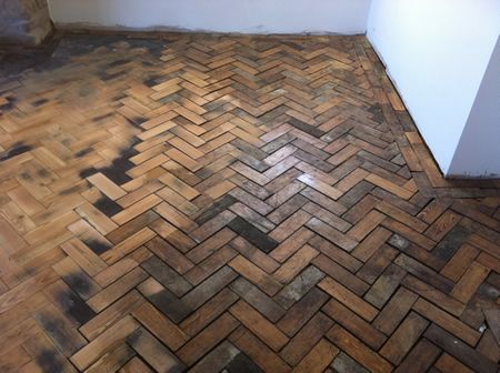 Pitch Pine Parquet Block Restoration in North Wales