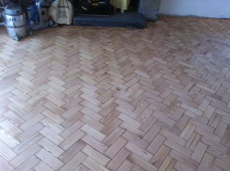 Pitch Pine Parquet Flooring Restoration in Conwy North Wales