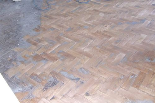 Pitch Pine Parquet Flooring Sanded and Sealed in North Wales by Woodfloor-Renovations