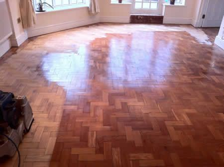 Pitch Pine Parquet Floor Sanding and Sealing in North Wales by Woodfloor-Renovations