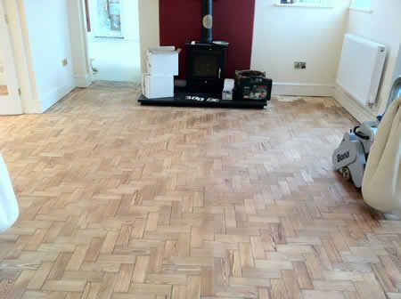 Pitch Pine Parquet Flooring Restored in North Wales by Woodfloor-Renovations