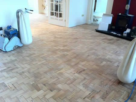 Pitch Pine Wood Block Parquet Wooden Floors Restored in North Wales