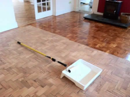 Pitch Pine Parquet Wooend Block Floors Sanded, Sealed and Restored in North Wales
