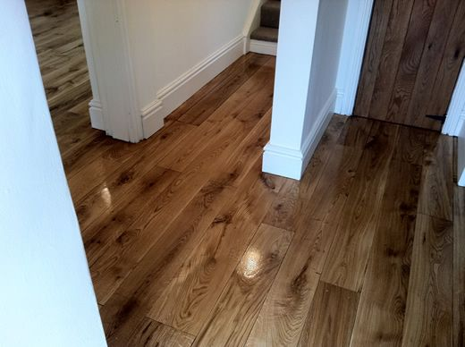 Rustic Oak Hardwood Flooring in Hallway Sanded, Sealed, Restored in North Wales by Woodfloor-Renovations