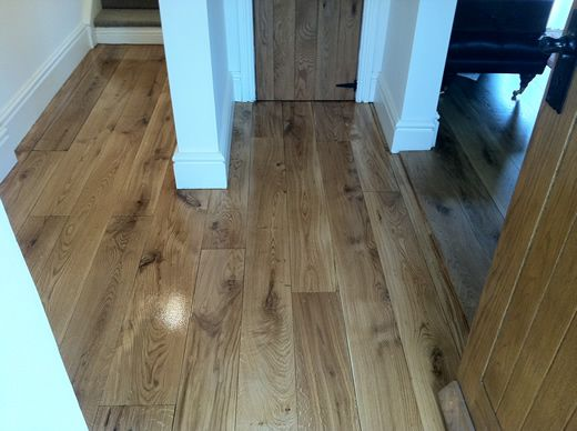 Rustic Hardwood Floor in Entrance Hallway Sanded and Sealed in North Wales by Woodfloor-Renovations